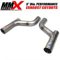 3 inch Dia HEMI Exhaust Cutouts Optional Cat Deletes by MMX