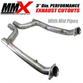 3 inch Dia HEMI Exhaust Cutouts With Catless Mid Pipes by MMX