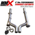 3 inch Dia HEMI Catless Mid Pipes  Cutouts With Mid Pipes by MMX - with caps